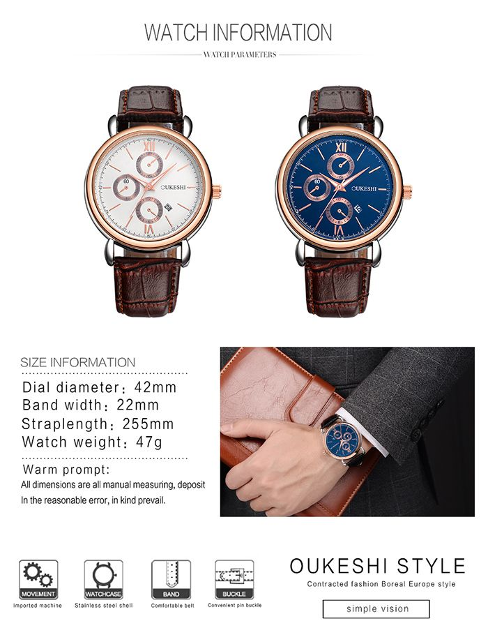 OUKESHI Number Date Faux Leather Strap Watch