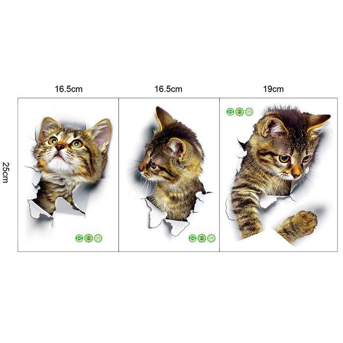 3D Cat Animal Bathroom Bedroom Decor Wall Sticker