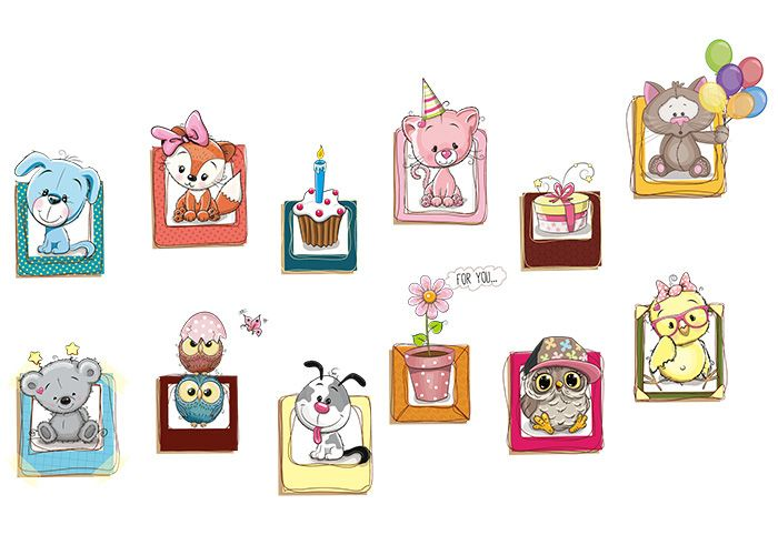 Cartoon Animals Vinyl Nursery Wall Decor Sticker