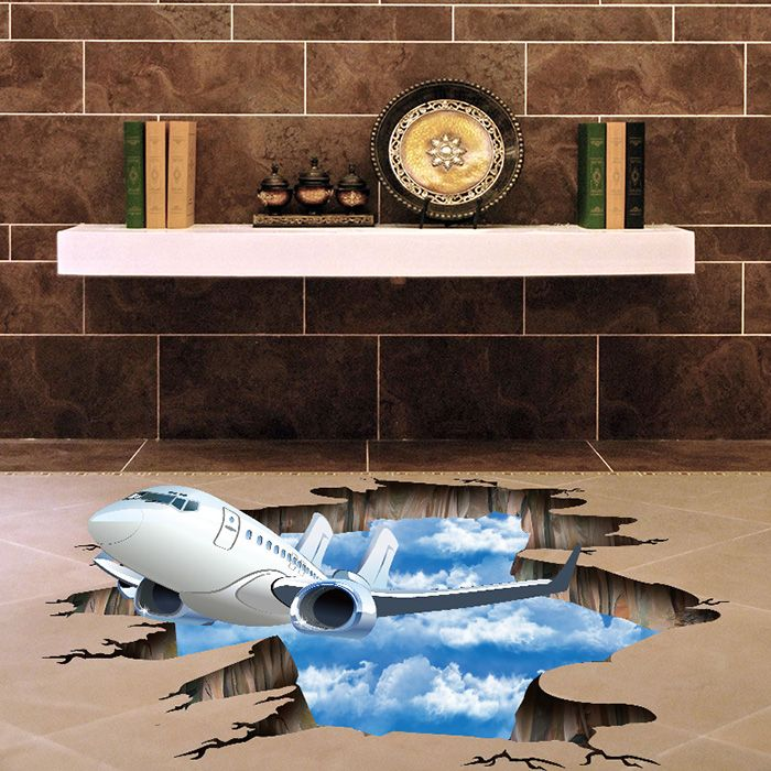 2019 3d plane sky removable floor decor wall sticker | rosegal