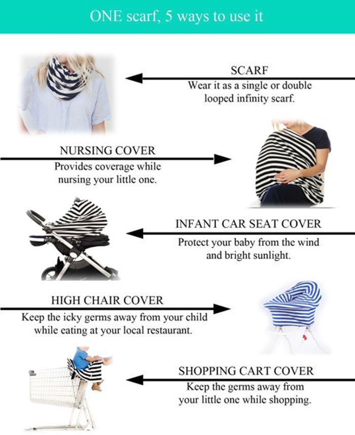 Purplish Blue Breastfeeding Wave Striped Nursing Scarf
