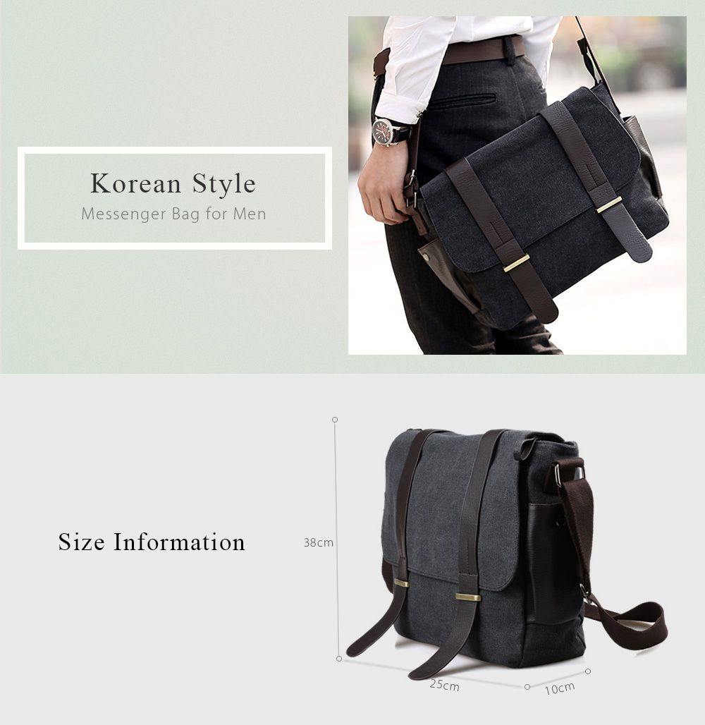 2019 Stylish Style Splice And Canvas Design Men s Messenger Bag ... 6f4aff7db7302