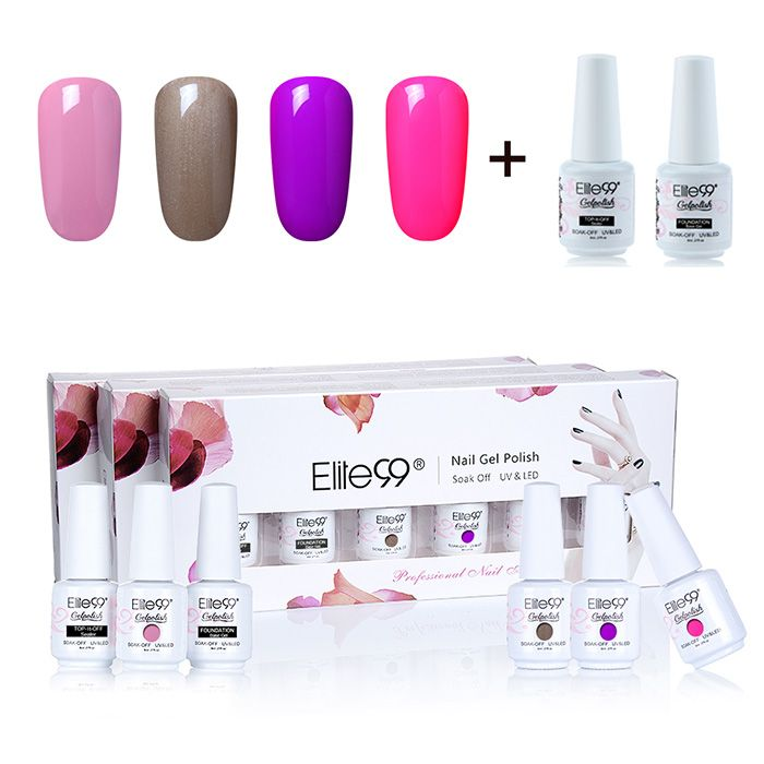 Polish Kit Led Gel Nail Manicure 4 Set Couleurs Elite99 Uv I6vmY7bfgy