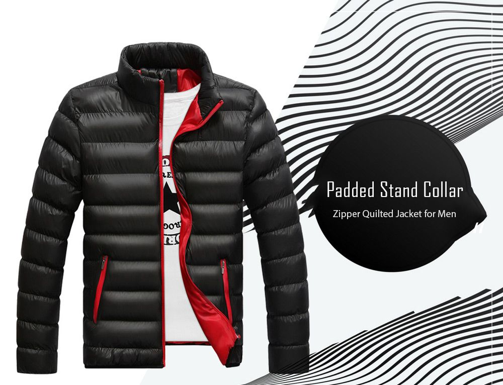 945dfdf959 Stand Collar Contrast Zipper Quilted Jacket