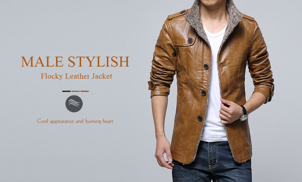 59feb02db 53% OFF] Stand Collar Flocking Single Breasted PU-Leather Jacket ...