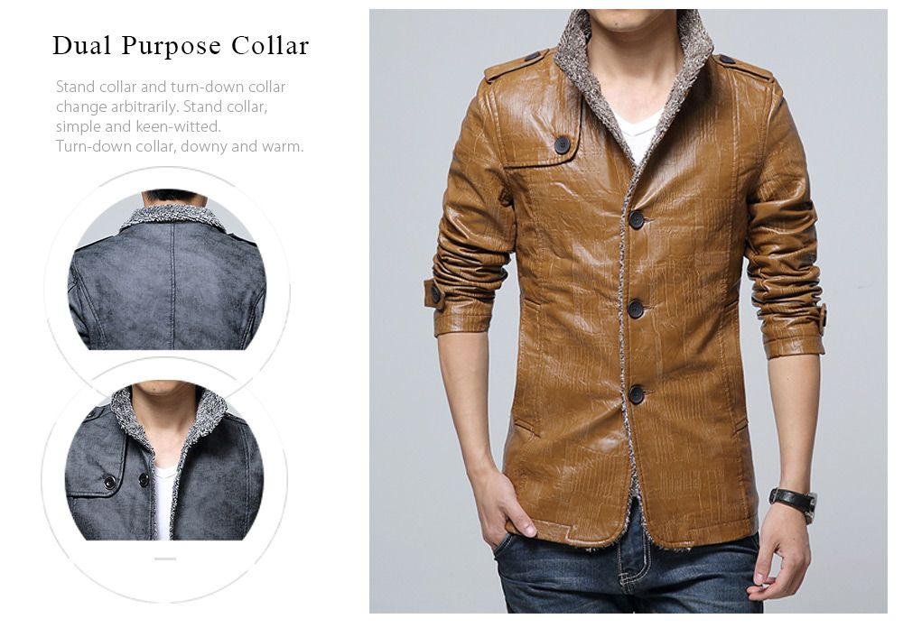 8f8c388d9 33% OFF] Stand Collar Flocking Single Breasted PU-Leather Jacket ...