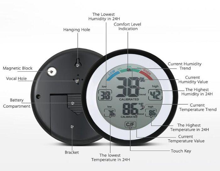 Termometr Wilgotnościomierz z ekranem dotykowym za 14zł