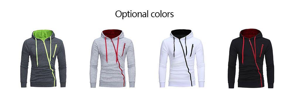 10f5a5c8a 26% OFF] Color Block Oblique Zippers Fleece Hoodie   Rosegal