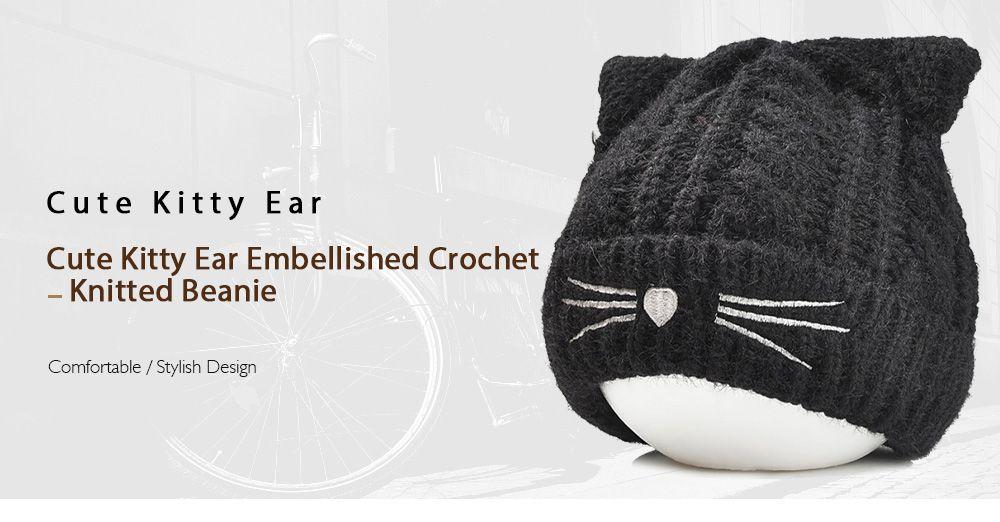 6a491f5768e 2019 Cute Kitty Ear Embellished Crochet Knitted Beanie