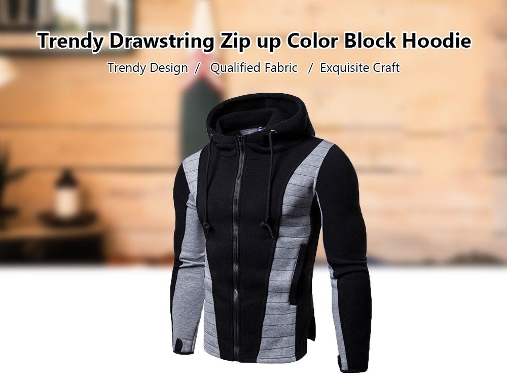 975406ed0cf 2019 Zip Up Panel Drawstring Hoodie