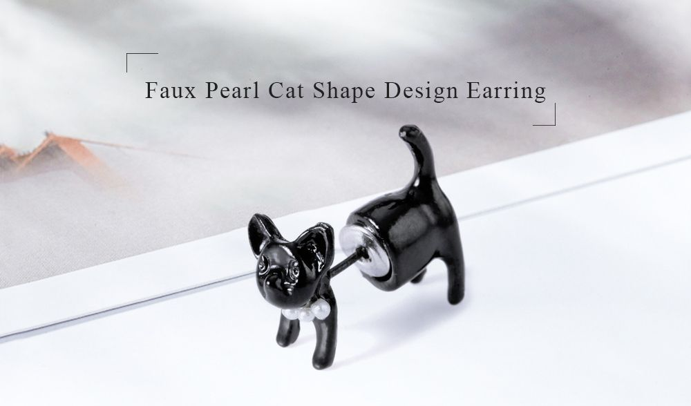 2019 One Piece Artificial Pearl Cat Shape Design Earring Rosegal Com
