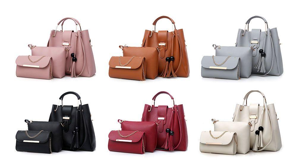 331924edcbcd 2019 3 Pieces Tassel Faux Leather Tote Bag Set