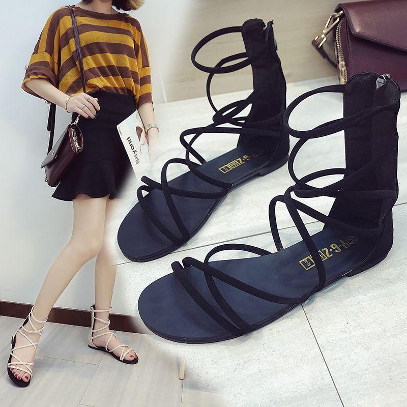 2d2609a52077d 2019 Strappy Back Zip Flat Sandals
