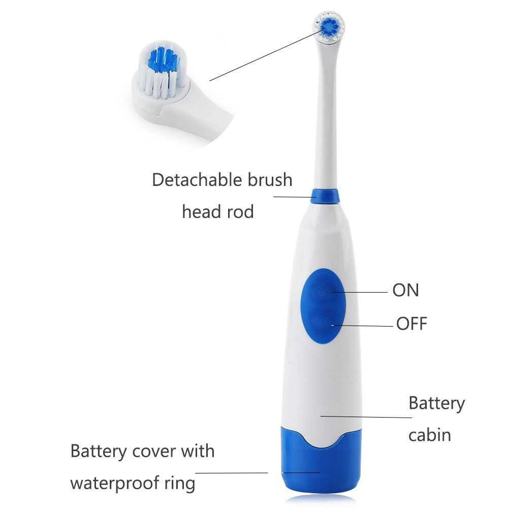 1 Set Rotating Anti Slip Electric Toothbrush with 2 Soft Bristles Brush Heads