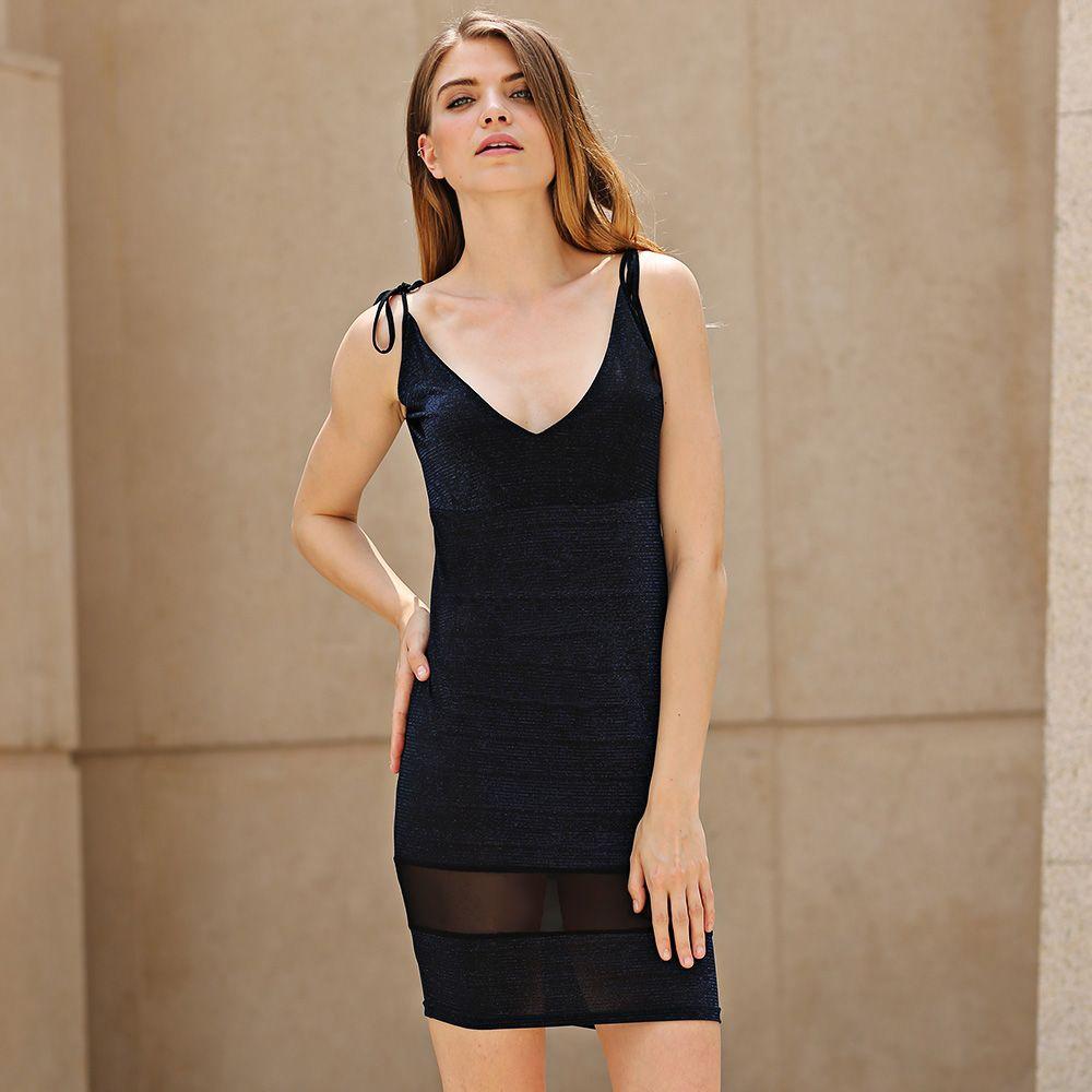 Sexy Spaghetti Strap Lurex Design Organza Spliced Sheathy Midi Women Suspender Dress