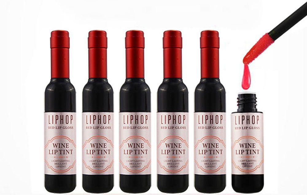 6pcs Waterproof Long Lasting Wine Bottle Design Stained Glaze Liquid Lip Gloss