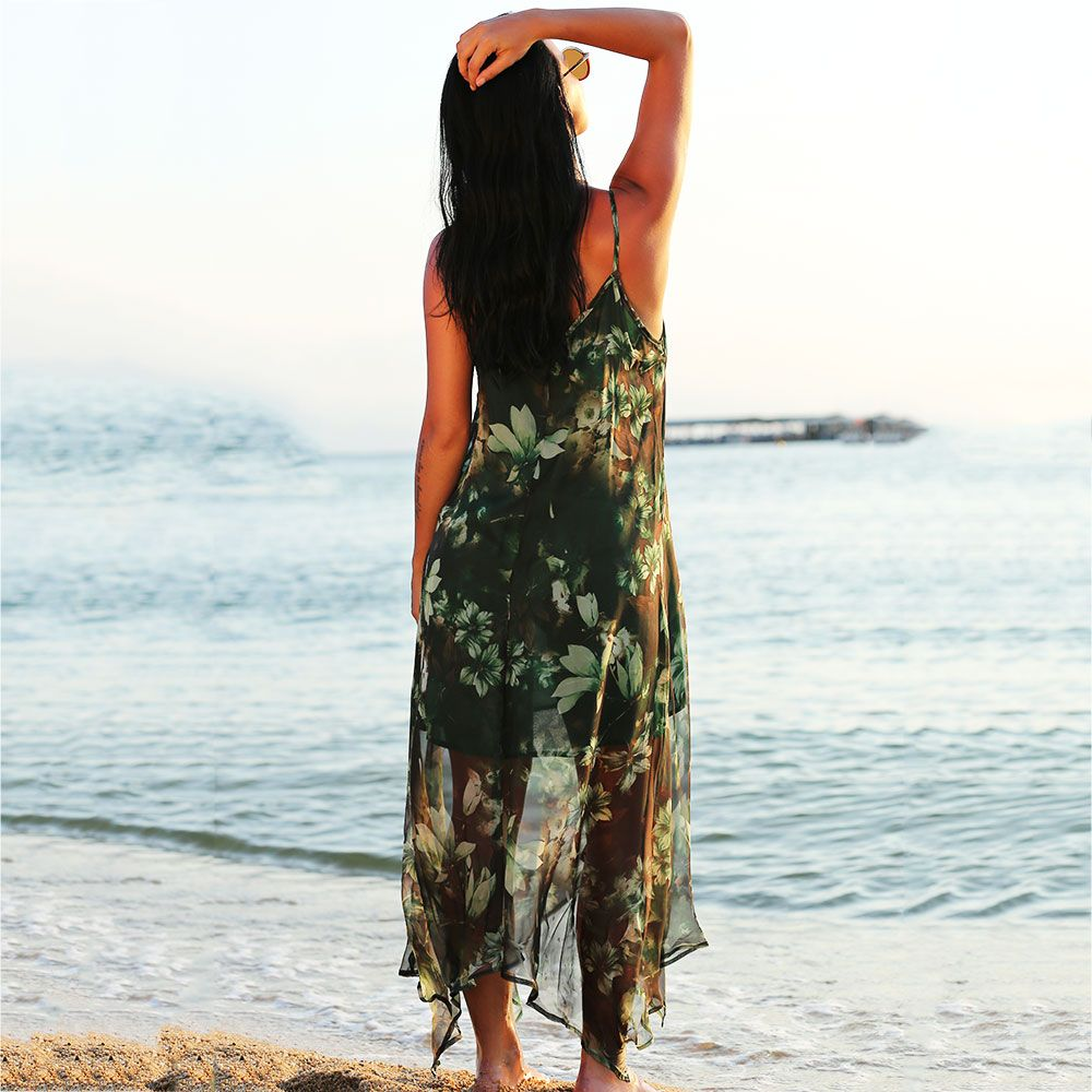 Chiffon Floral Bohemian Swing Slip Beach Dress