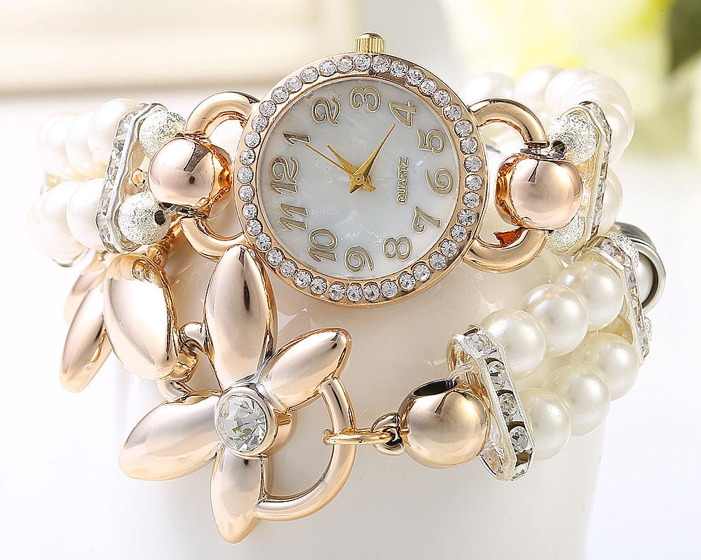 Women Pearl Rhinestone Flower Bracelet Quartz Watch