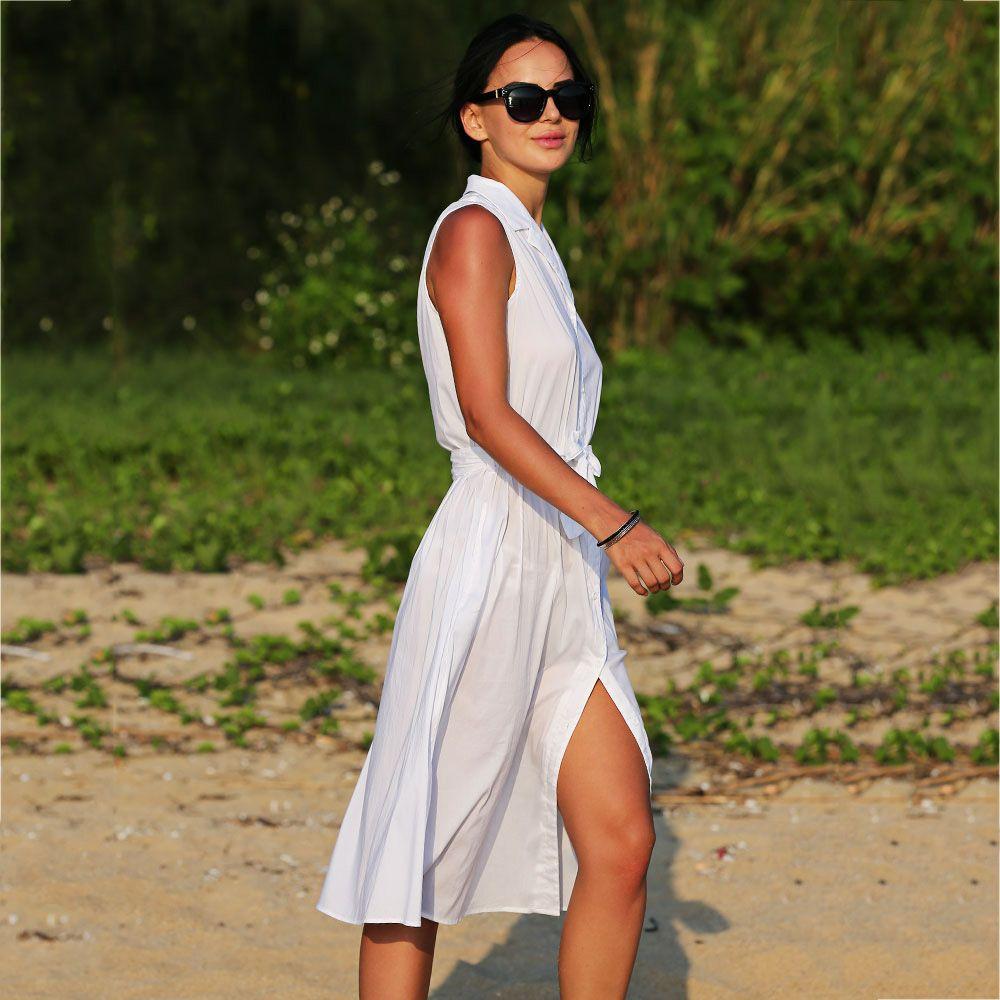 Brief Lapel Sleeveless Bowknot Design Lace-Up Pure Color Women Midi Shirt Dress