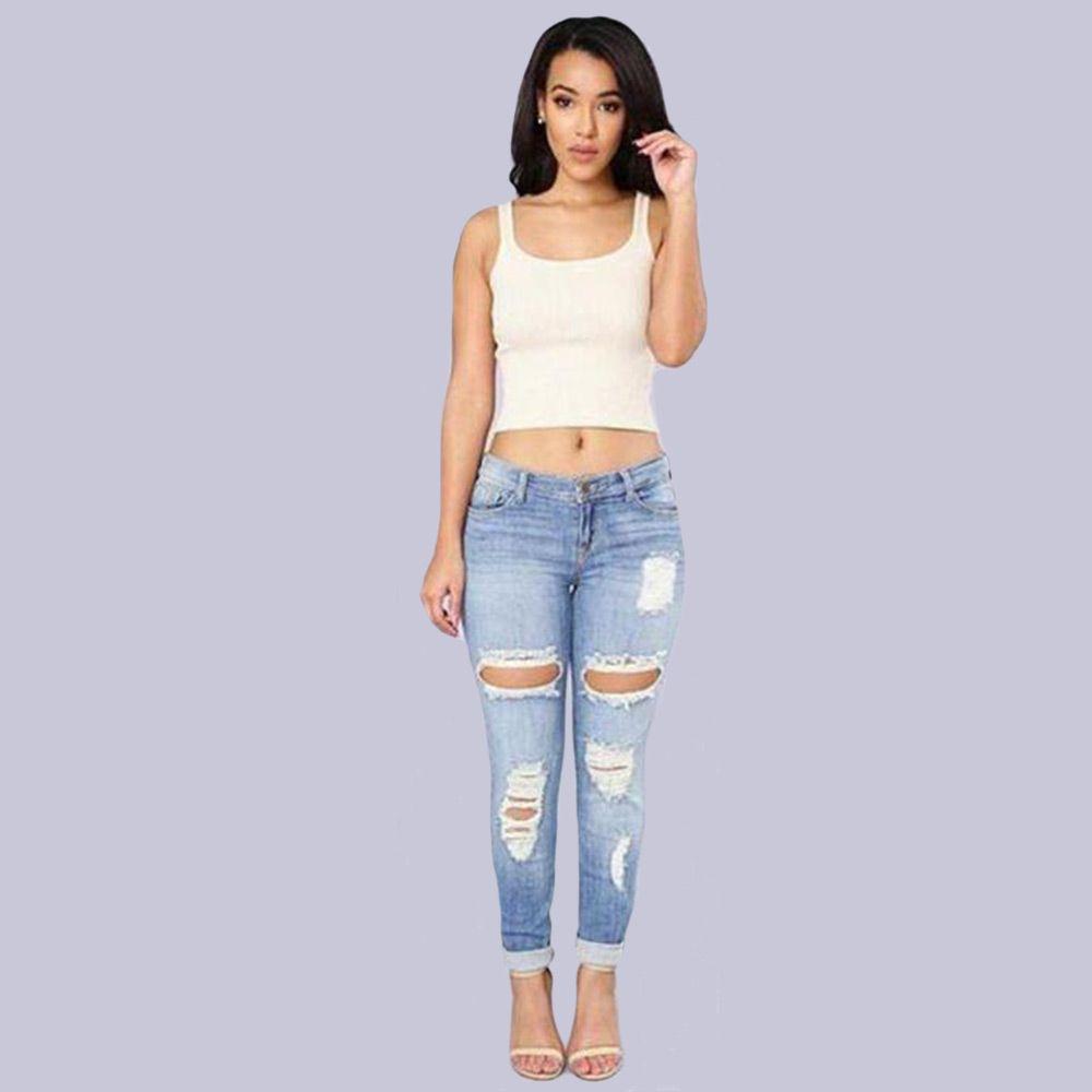 Trendy Mid Waist Skinny Women Destroyed Jeans