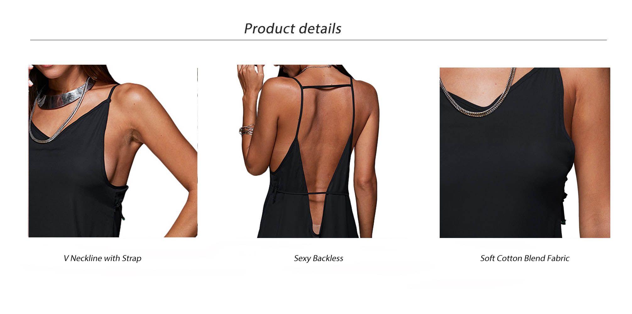 Sexy Spaghetti Strap Backless Pure Color Women Mini Dress