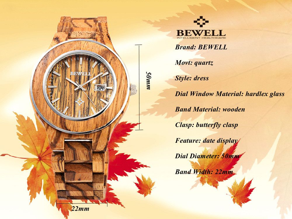 BEWELL ZS - W100AG Men Wooden Quartz Watch Nail Scale Date Wristwatch