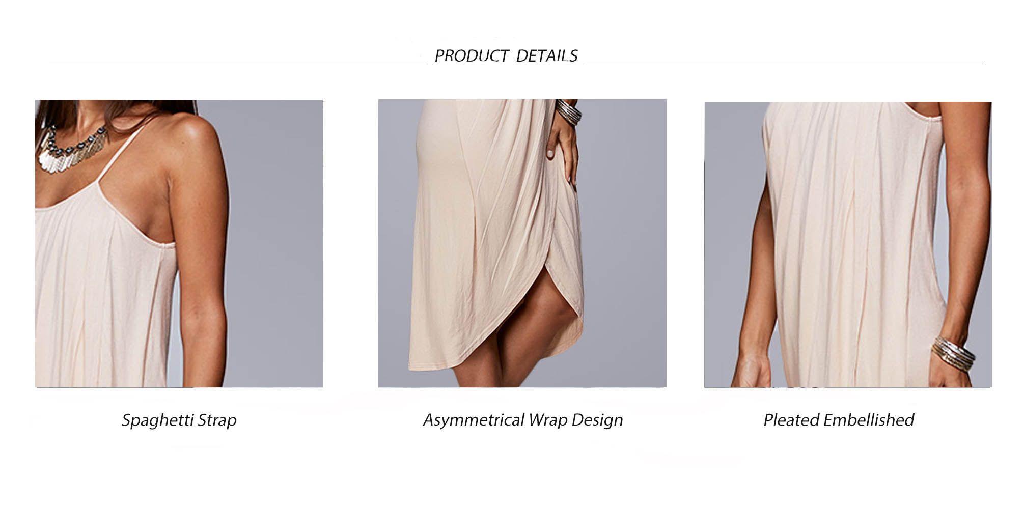 Spaghetti Strap Draped Summer Slip Dress