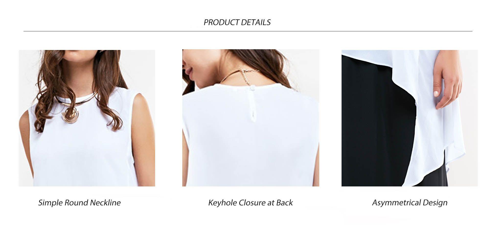 Simple Round Collar Asymmetrical Sleeveless Blouse