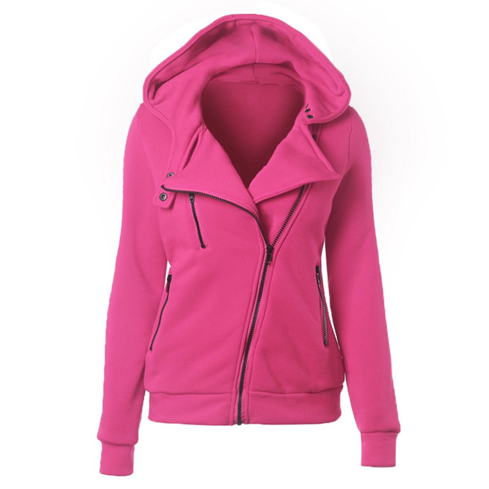 Casual Turn-down Collar Zipper Button Design Women Hoodie