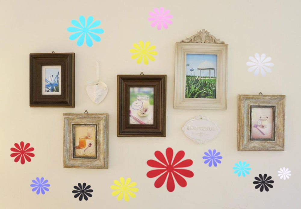 DIY 3D Flowers Wall Sticker Mirror Art Decal PVC Paper for Home Showcase - 12Pcs