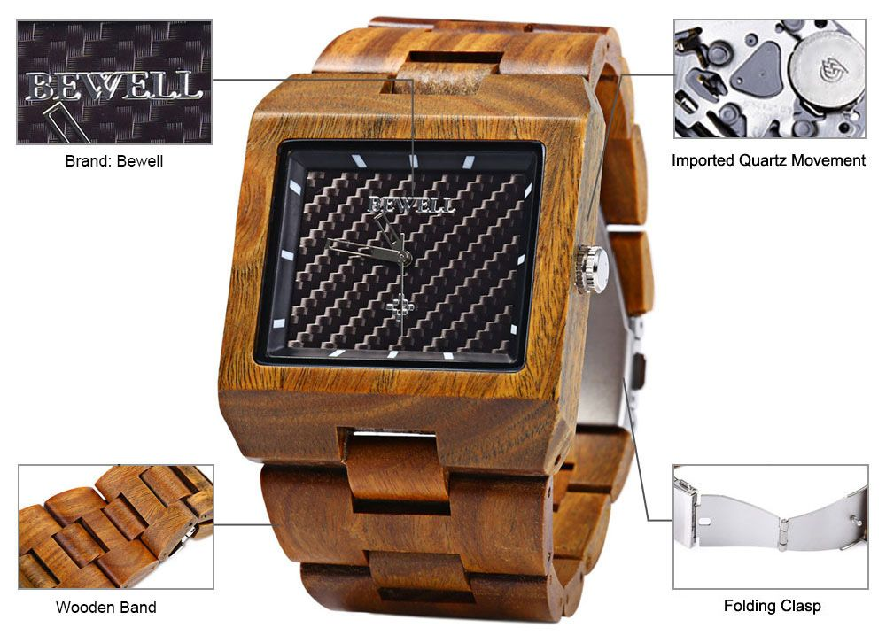 Bewell ZS - W016A Male Quartz Watch Rectangle Dial Wooden Band Hollow-out Pointer Wristwatch