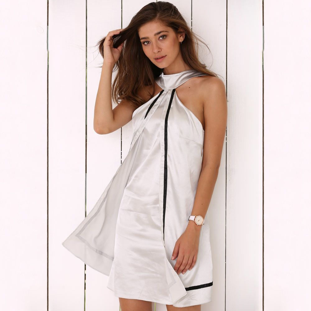 Halter Faux Two Piece Satin Mini Dress