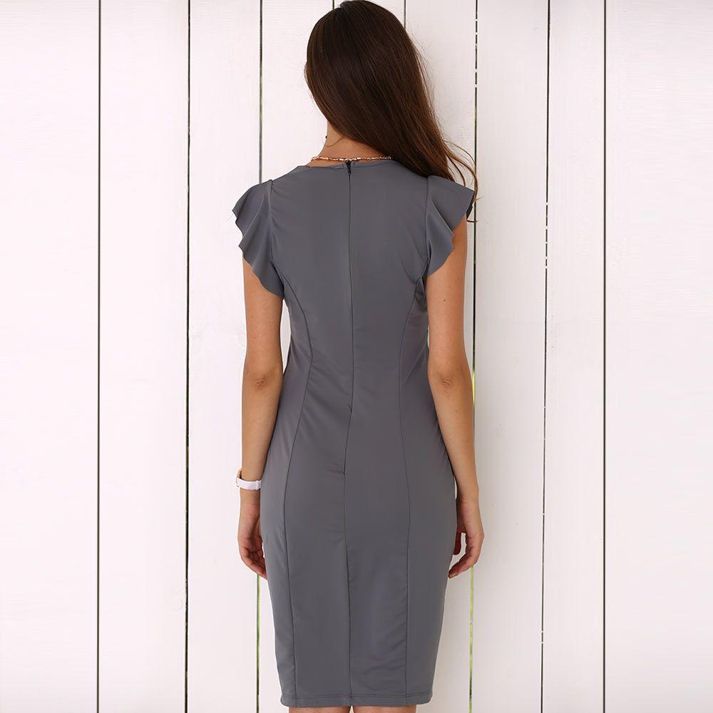 Sexy V-Neck Cap Sleeve Sash Waist Pure Color Women Dress