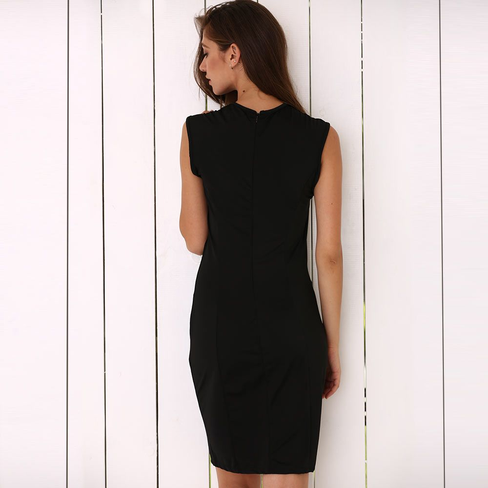 Round Collar Cut Out Bodycon Dress