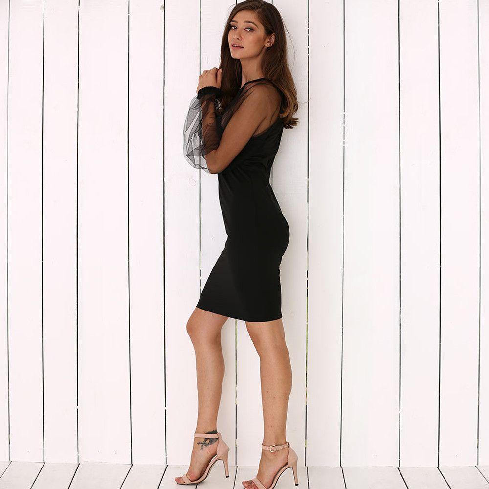 Elegant Round Collar Lantern Sleeve Spliced See-Through Women Black Dress