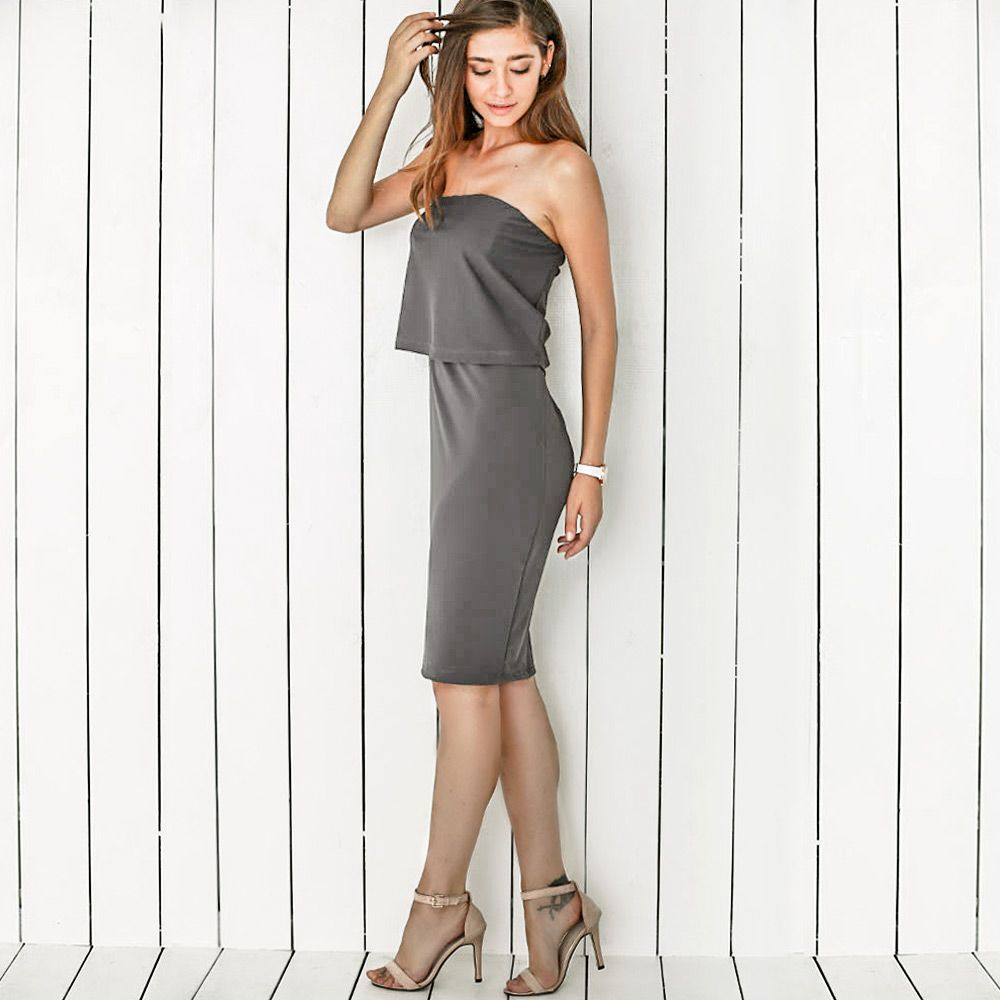 Strapless Pure Color Bodycon Dress