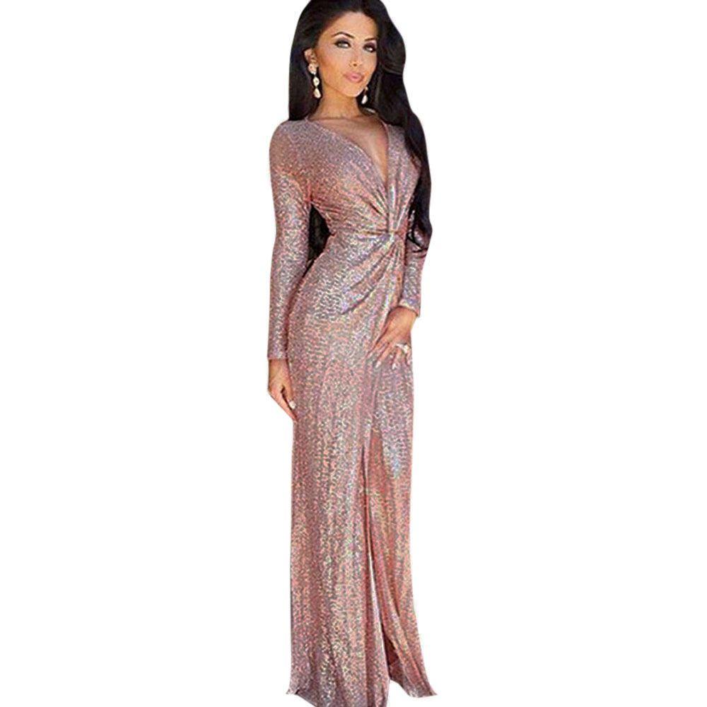 Elegant Plunge Neck Knot High Slit Sequin Evening Dress