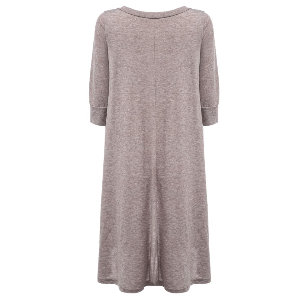 Round Collar Front Single-breasted Irregular Dress