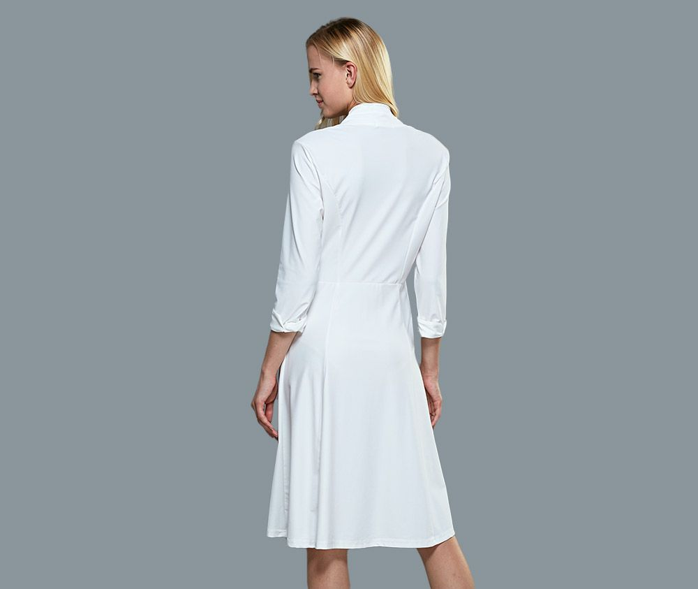 Brief Stand Collar 3/4 Sleeve Women White Dress