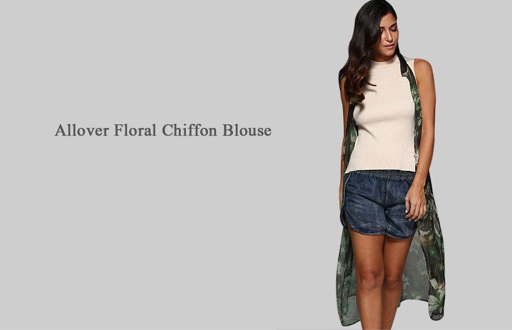 Floral Chiffon Sleeveless Blouse