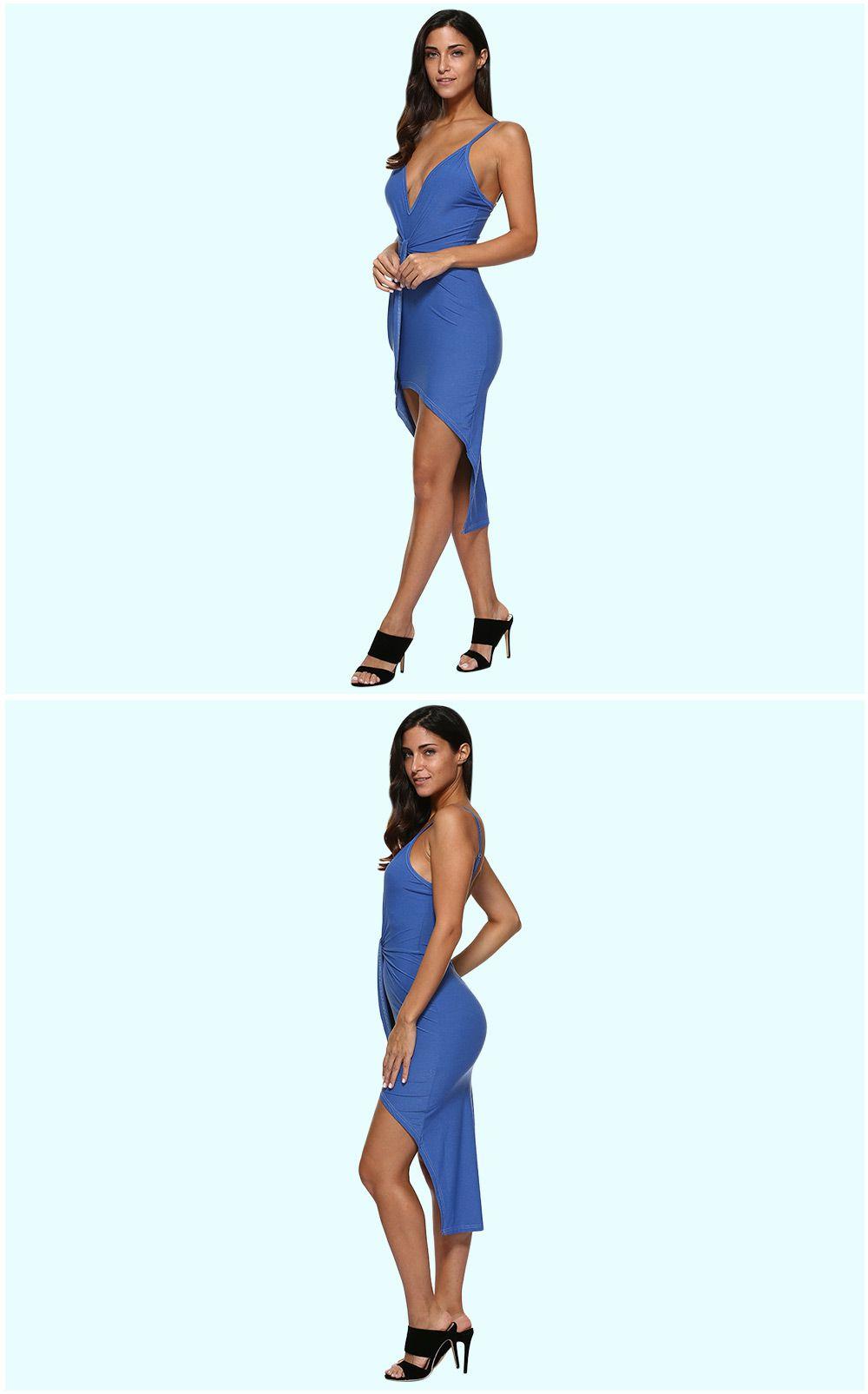 Sexy Spaghetti Strap Pure Color Asymmetrical Women Dress