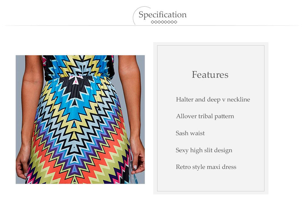 Old Classical Style Halter Allover Tribal Print Women High Slit Dress