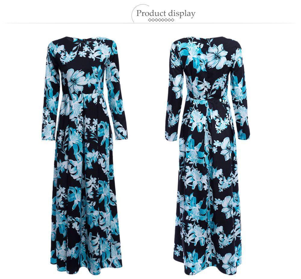 Old Classical Round Collar Sash Waist A-line Women Floral Dress