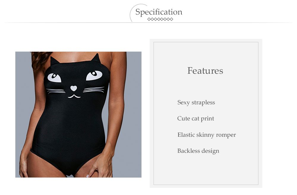 Tube Top Cat Pattern Wire Free Cute One Piece Swimsuits