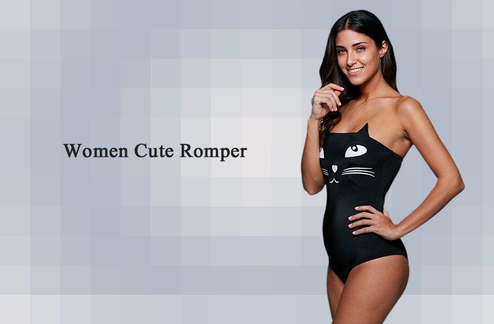 Cute Tube Top Off-the-shoulder Cat Pattern Wire Free Women Swimwear