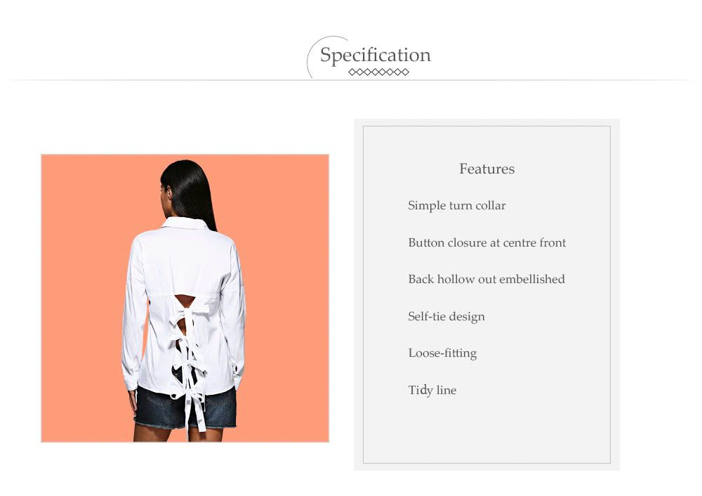 Brief Turn Down Collar Pure Color Hollow Out Criss-cross Women Shirt