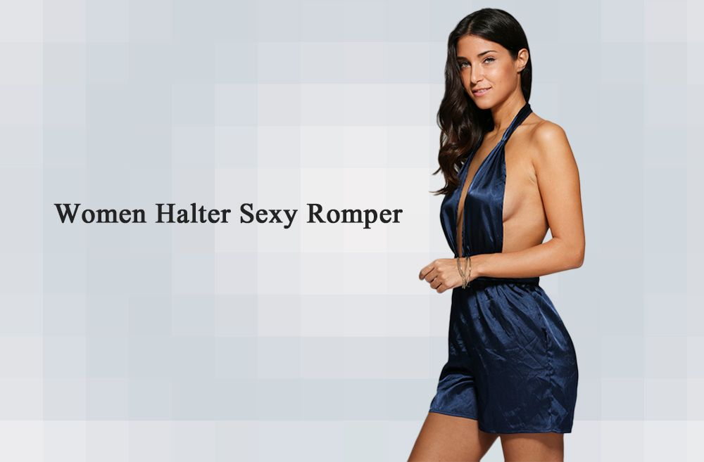 Halter Sash Waist Pure Color Women Romper