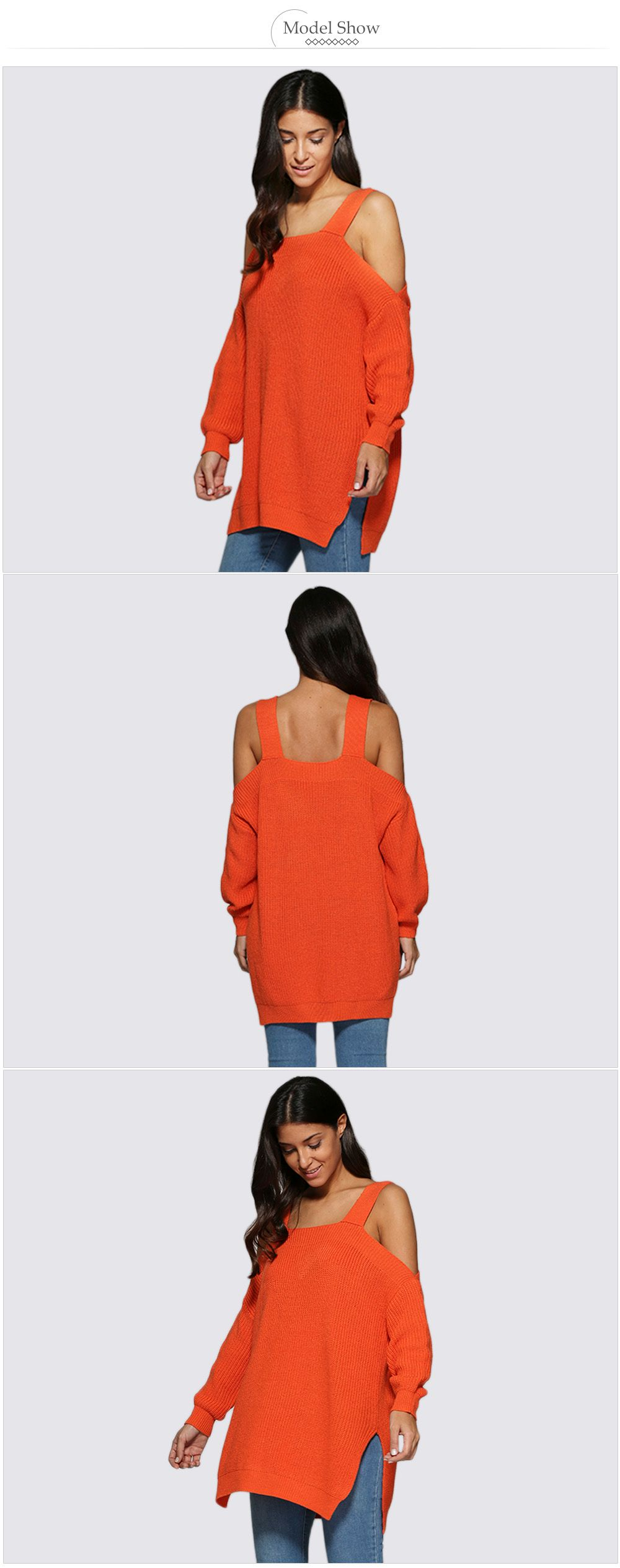 Sexy Cold Shoulder Loose-Fitting Knitted Women Sweater
