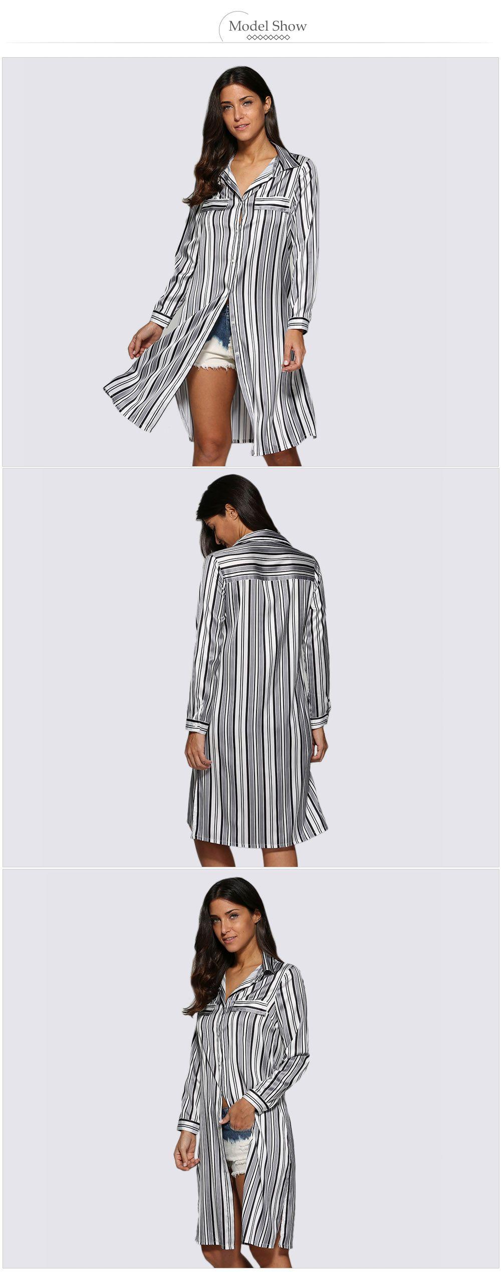 Street Style Turn Down Collar Allover Striped Button Design Women Blouse