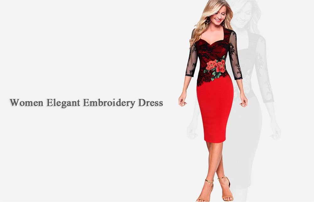 Elegant Sweetheart Neck Floral Embroidery Sheath Women Dress